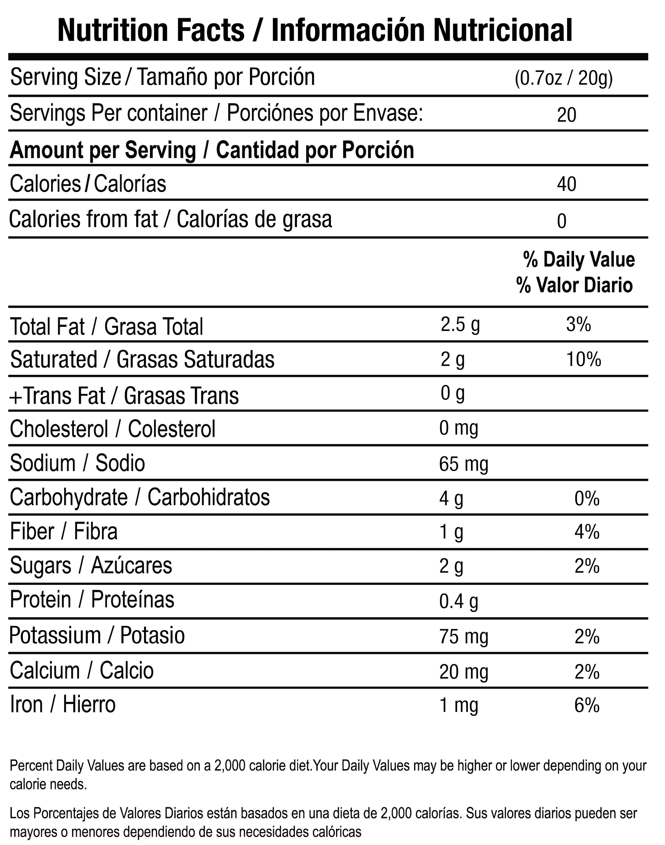 Latte Verde nutrition facts